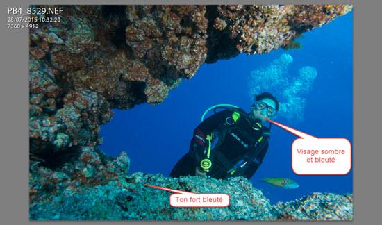 Redonner du rose à la peau d'un plongeur avec LIGHTROOM