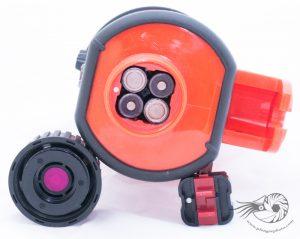 Le compartiment des batteries du flash Nikonos SB105